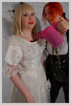 Wedding Dress meets PVC maid as the french noblewoman returns to the Hall featuring Prudence, the Houskeeper,
